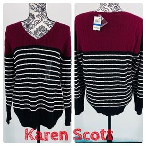 Karen Scott cable colorblock v-neck sweater